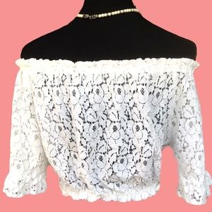 FOREIGN EXCHANGE Tops - 'FOREIGN EXCHANGE LACE BLOUSE TOP ELASTIC WAIST L